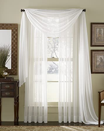 Amazoncom 63 Long Sheer Curtain Panel White Home Kitchen