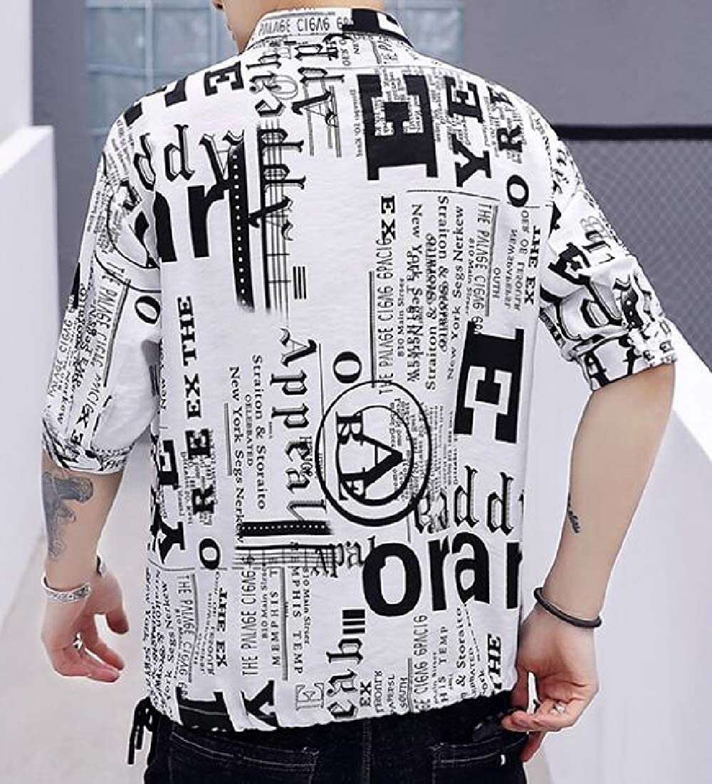 Men Button-Down Shirt Casual Floral Short Sleeve Slim Fit Shirt