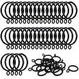 ANJUU 36 Pack 38mm Inner Diameter Metal Curtain Drape Sliding Eyelet Rings Black Tone