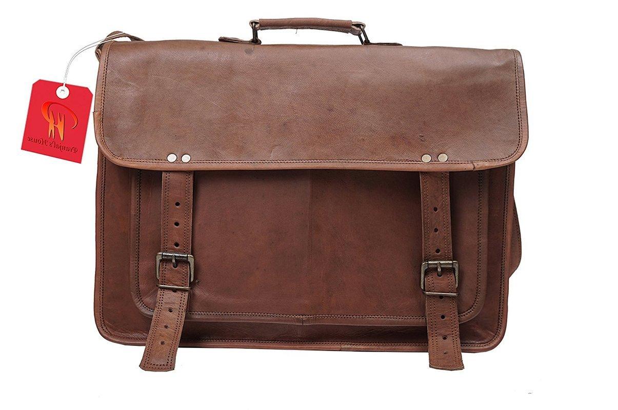 Genuine Leather Messenger Bag 18'' Inch Laptop Satchel Office Briefcase Unisex by pranjals house