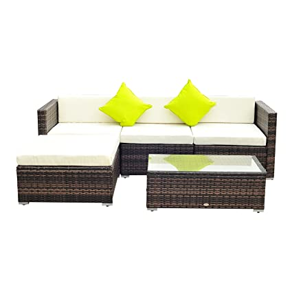 Sensational Outsuuny 5Pc Rattan Furniture Set Garden Outdoor Sectional Sofa Coffee Table Combo Patio Furniture Metal Frame W Cushion Pillows Cjindustries Chair Design For Home Cjindustriesco