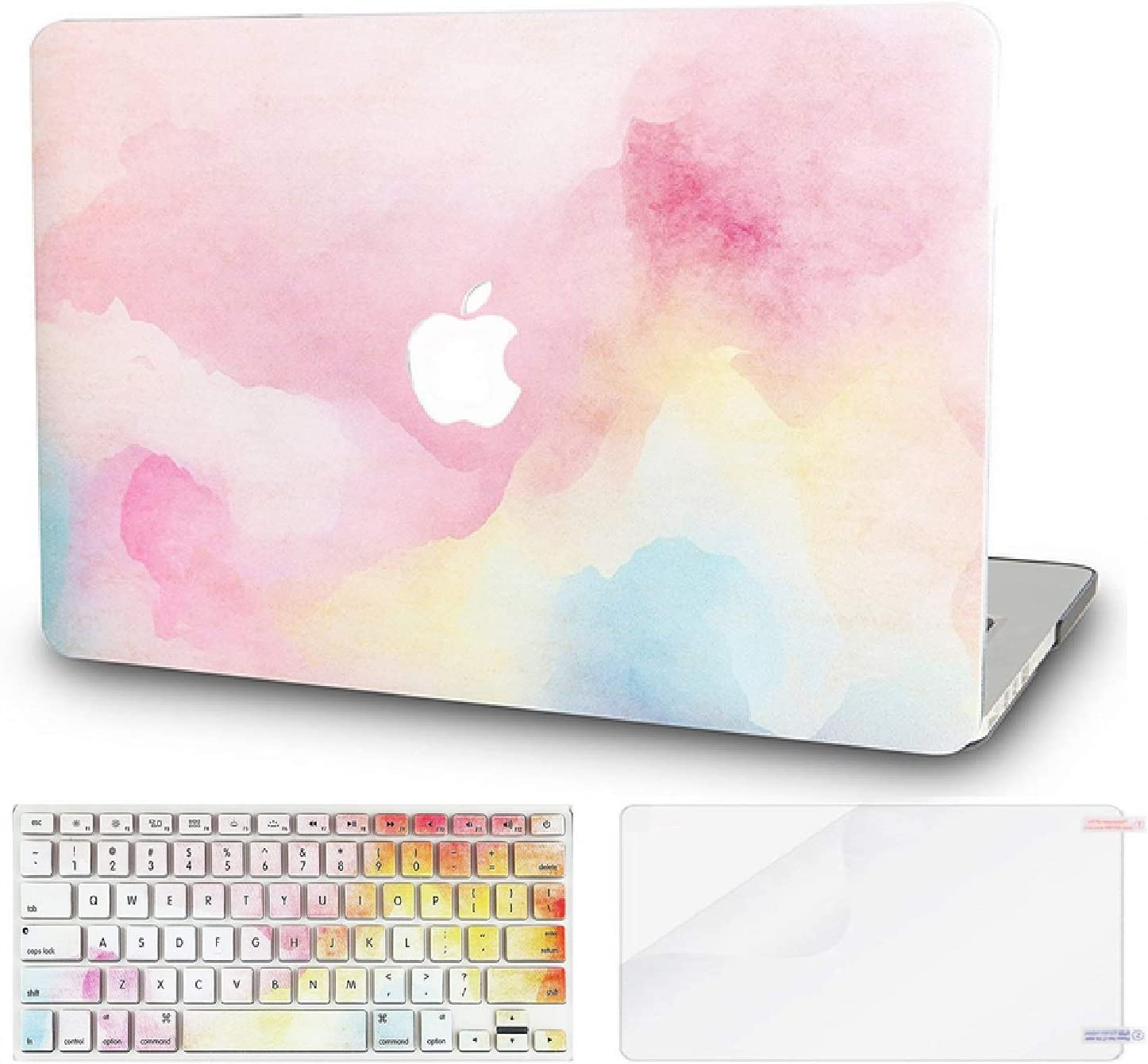 """KECC Laptop Case for MacBook Pro 13"""" (2020/2019/2018/2017/2016) w/Keyboard Cover Plastic Hard Shell A2159/A1989/A1706/A1708 Touch Bar + Screen Protector 3 in 1 Bundle (Rainbow Mist)"""