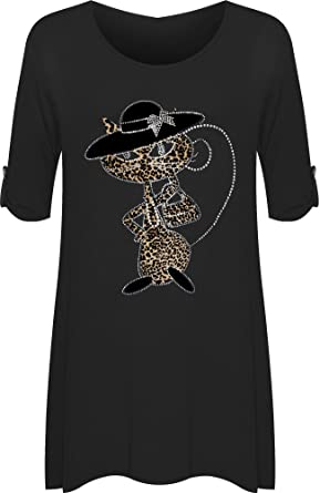 3d062ac532 Womens Cat Animal Print Short Sleeve Plus Size Diamante Ladies Flared Top  14-28  Amazon.co.uk  Clothing
