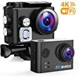 WIMIUS アクションカメラ 2イン 4K高画質 WiFi搭載 60M防水カメラ 超広角レンズ 豊富な付属品付き ウェアラブルカメラ バイク/自転車/車などに取り付け可能 スポーツカメラ アクションカム (Q6)
