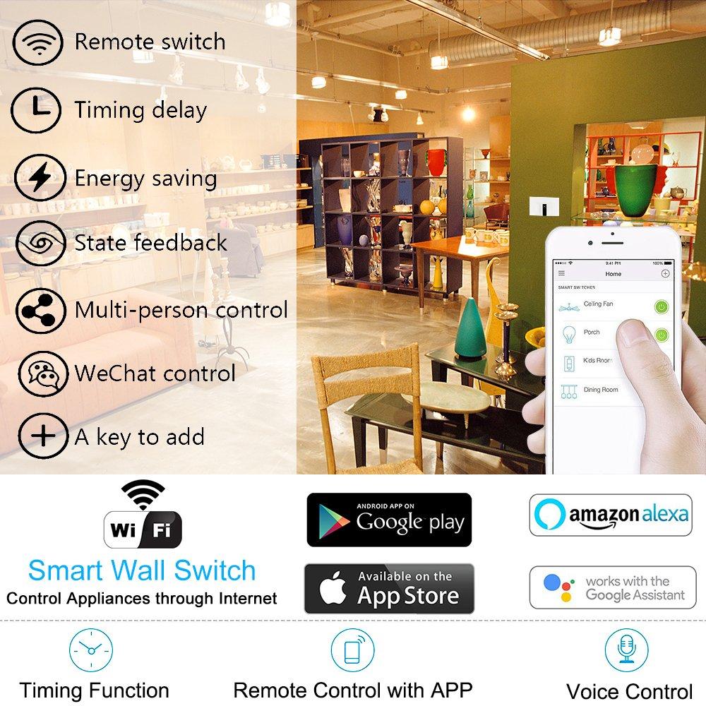 WiFi Smart Alexa Light Switch, HOSYO 3 Gang Touch Wall Plate Light ...