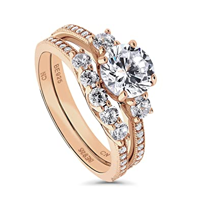 534d6236ddd9d BERRICLE Rose Gold Plated Sterling Silver Round Cubic Zirconia CZ 3-Stone  Anniversary Engagement Wedding Ring Set 1.97 CTW