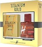 H POUR HOMME Coffret Homme Titanium Gold, Eau de Toilette 75 ml avec Après-Rasage