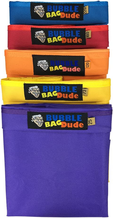 """BUBBLEBAGDUDE Bubble Bags 5 Gallon 5 Bag Set Herbal Ice Essence Extraction Bag Kit with 10 x 10"""" (25 Micron) Pressing Screen and Storage Bag : Garden & Outdoor"""