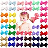 DeD 40 Pieces 2 Inch Tiny Velvet Hair Bows Fine Hair Fully Lined Baby Small Hair Clips Barrettes Hair Accessories for Baby Girls Infant Toddlers Kids In Pairs