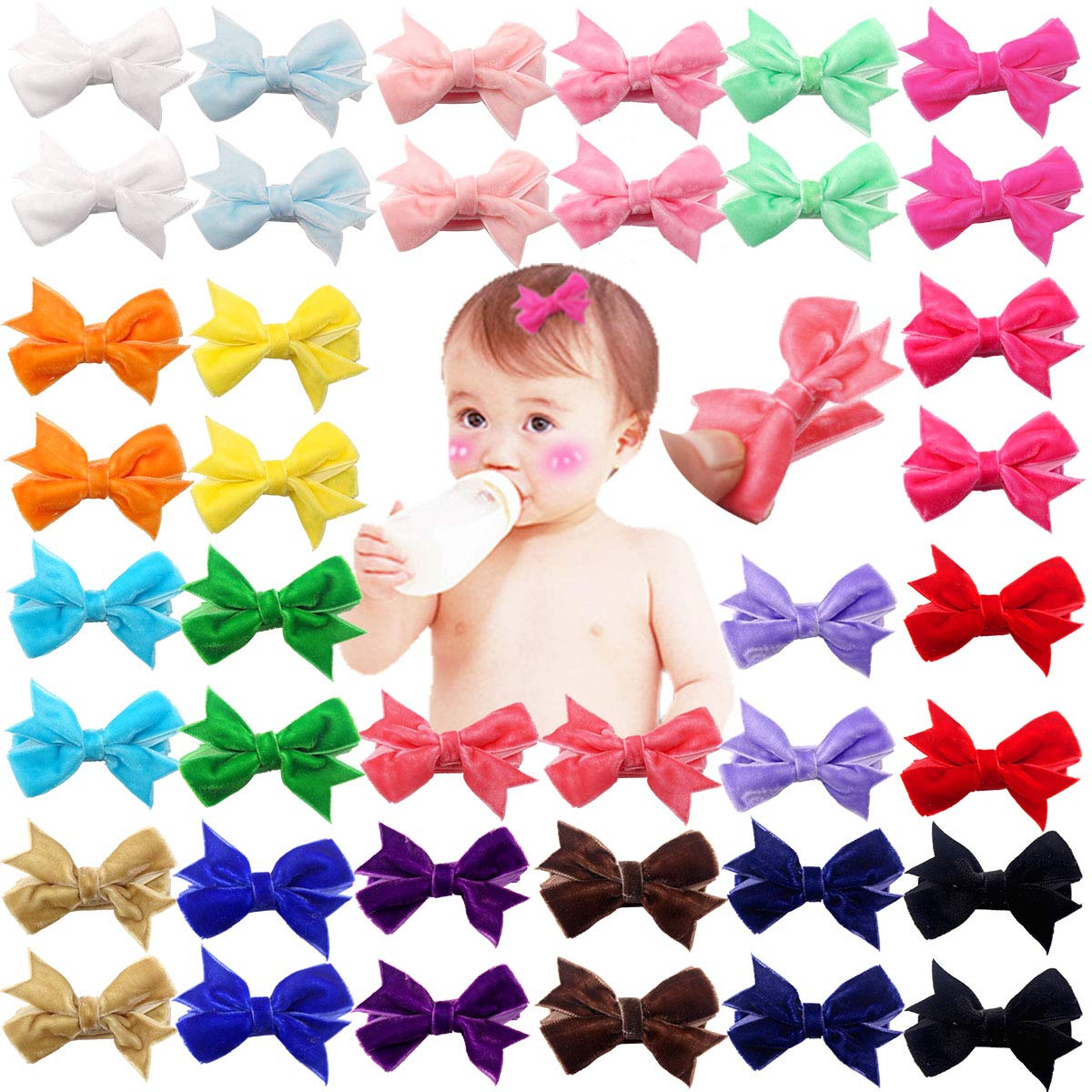 20pcs Grosgrain Half Colvered Hair Clips Barrettes DIY for Baby Girl Todders