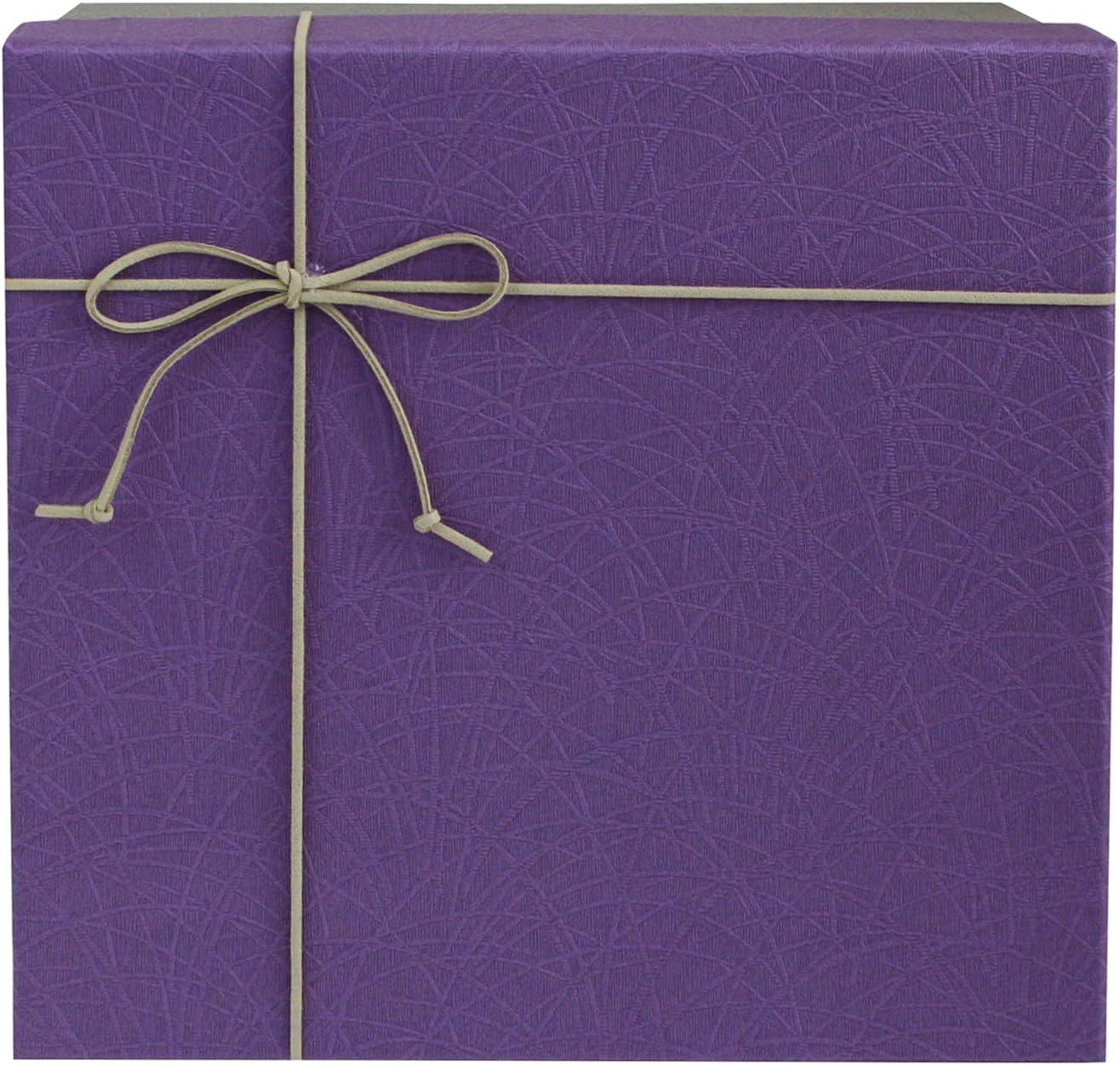 Lila Box mit Grauem Deckel Schokoladenbraunes Interieur und Wildleder Dekorative Band Schleife 24,8 cm x 24,8 cm x 12 cm Emartbuy Starrer Luxus Geschenkbox in Quadratischer Form