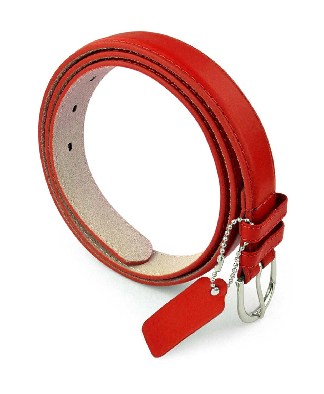 Belle Donne Women's 1-1/8 in Bonded Leather Belt With Metal Buckle