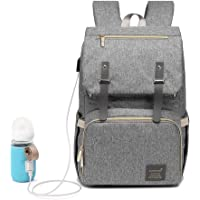 [Upgraded] Dulcii Multi-Function Waterproof Travel Backpack Diaper Bag Nappy Bags for Baby Care with Milk Bottle USB Heating Sleeve, Large Capacity, Stylish and Durable (Light Grey)