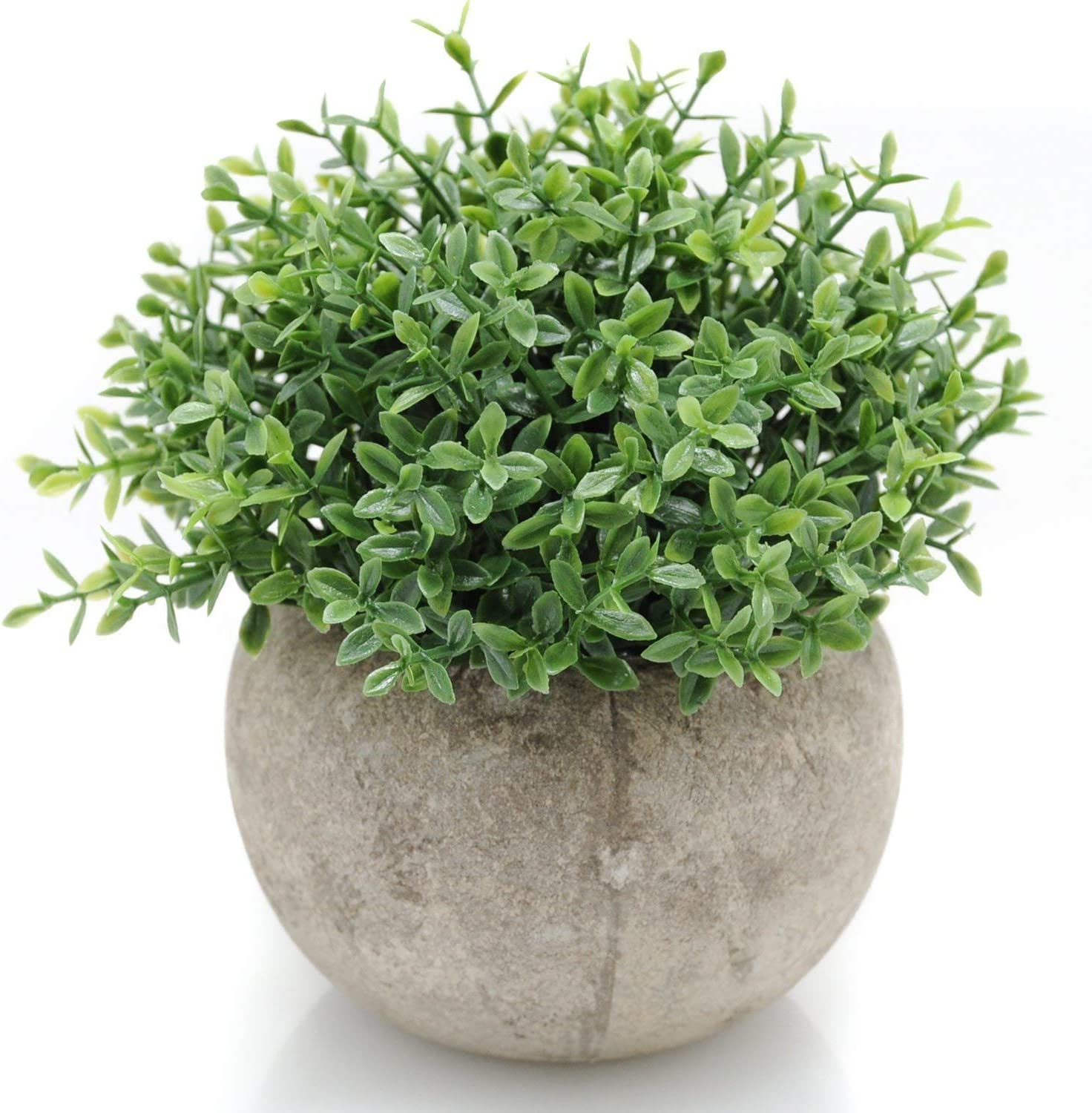 Velener Mini Plastic Artificial Plants Benn Grass in Pot for Home Decor (Green) -