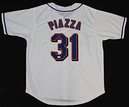 half off ada8f d129b Mike Piazza Autographed White New York Mets Jersey - Hand ...