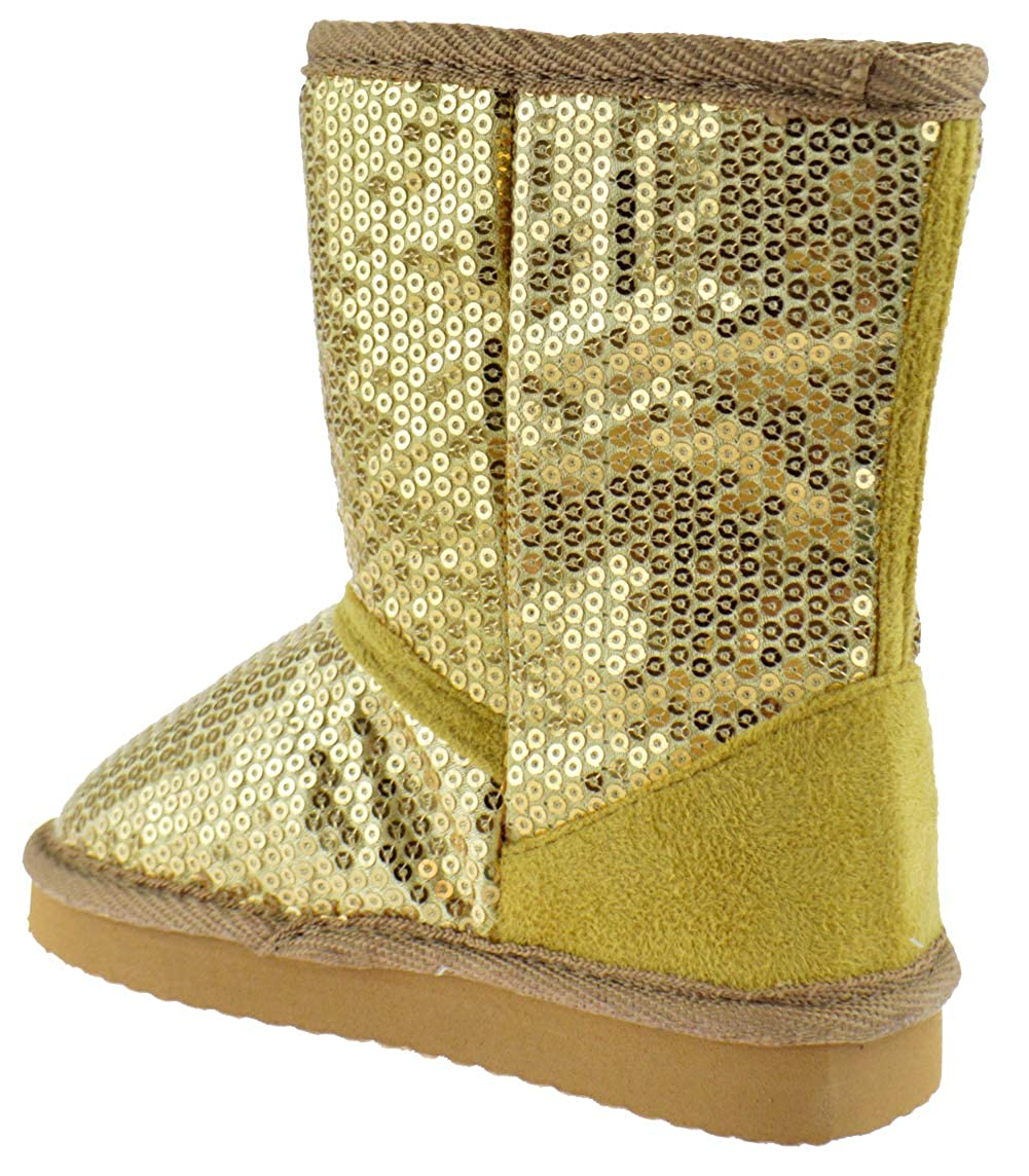 Ositos FEBE Baby Girls Sequin Faux Fur Mid Calf Shearling Boots