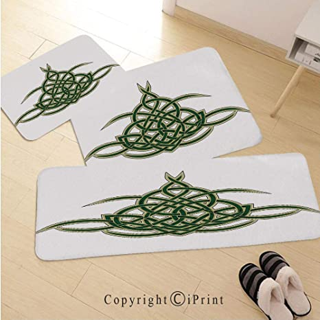 Celtic 3D Non-Slip Kitchen Mat Runner Rug Set,3pc Kitchen Rug Set,Original Celtic Shield Icon Gothic Design Abstract Scotland Medieval Style Art,for Entryway Kitchen and Bedroom,Green Golden