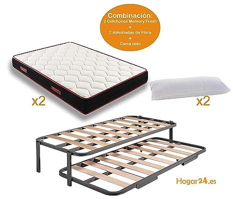 HOGAR24 Cama Nido con Patas + 2 Colchones Viscoelásticos Reversible Memory Fresh 3D + 2 Almohadas