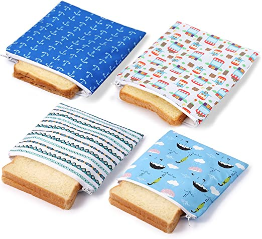 Reusable Snack Bag Sandwich Bags Eco-Friendly Lunch Baggies for Kids 2 Pack ZHU