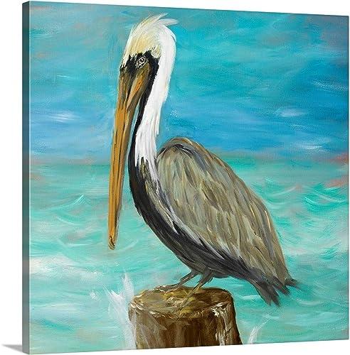 Pelicans on Post I Canvas Wall Art Print