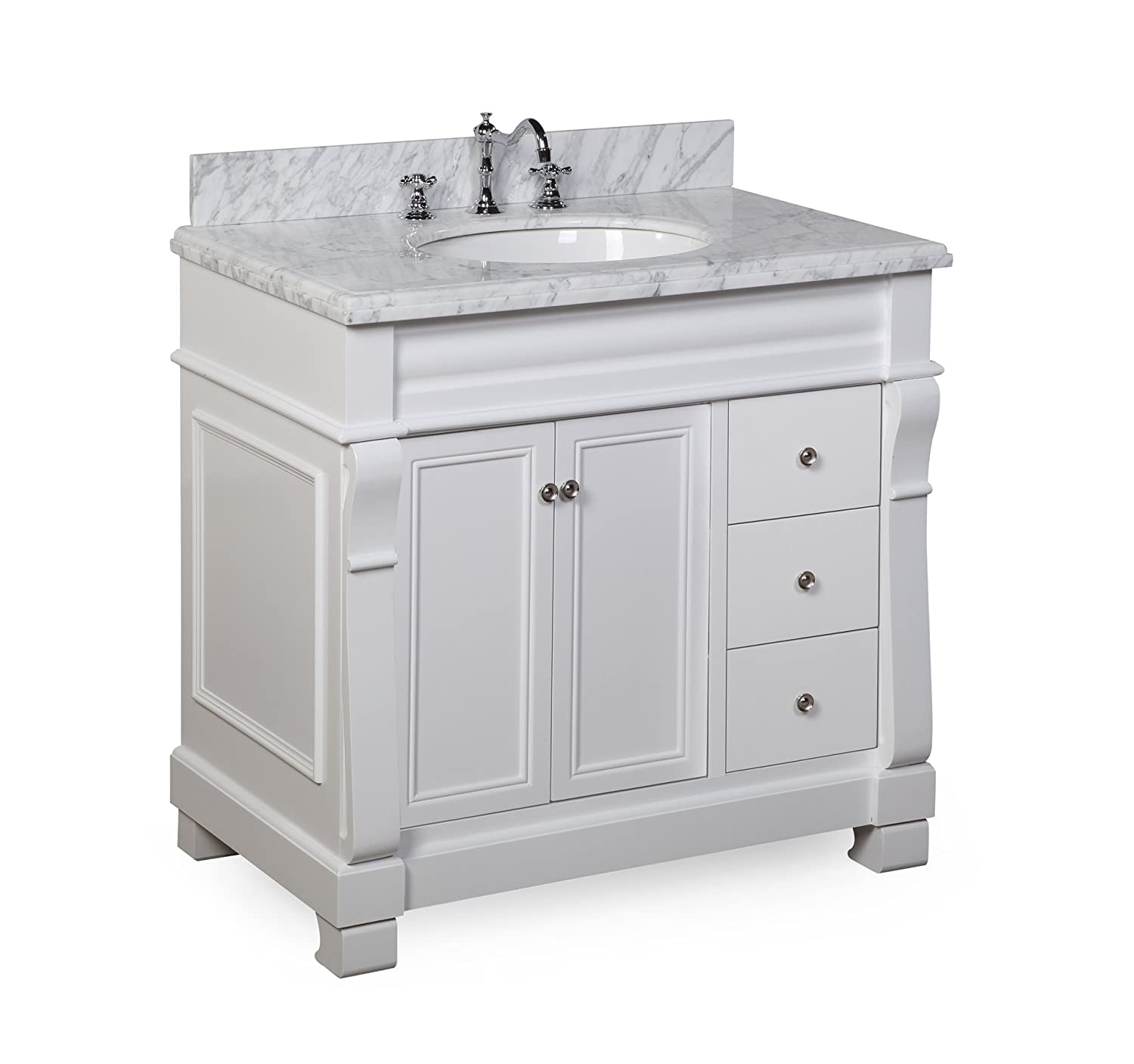 Kitchen Bath Collection KBC36TRA22WTCARR Westminster Bathroom Vanity ...
