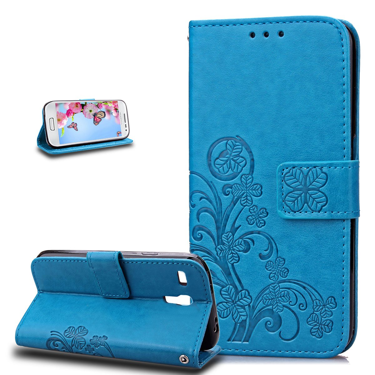 Galaxy S3 Mini Case, Wallet Case for Galaxy S3 Mini, ikasus Embossing Clover Flower PU Leather Fold Wallet Pouch PU Leather Wallet Flip Stand Credit Card Holders Case Cover for Galaxy S3 Mini, Blue