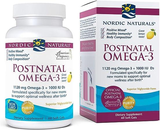 Nordic Naturals Postnatal Omega-3, Lemon - 1120 Total Omega-3 + 1000 IU Vitamin D3 - 60 Soft Gels - Formulated for New Moms; Supports Optimal Wellness, Positive Mood, Healthy Metabolism - 30 Servings