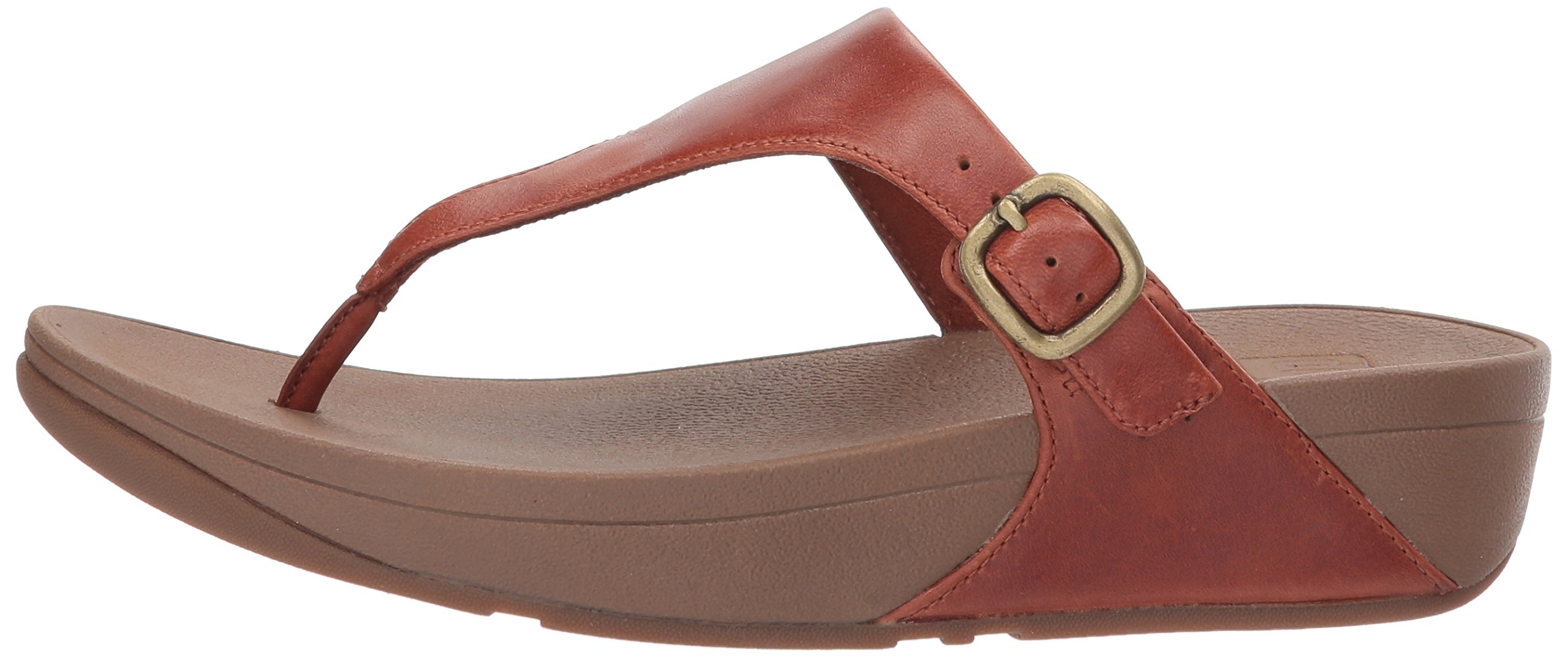 FitFlop Women's The Skinny Leather Toe-Thong Sandal, Dark Tan, 10 M US by FitFlop (Image #5)