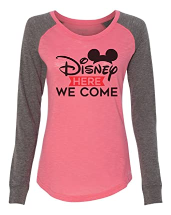 Funny Threadz Womens Disney Raglan Disney Here We Come Patched Elbow Long  Sleeve at Amazon Women s Clothing store  b6c584d867