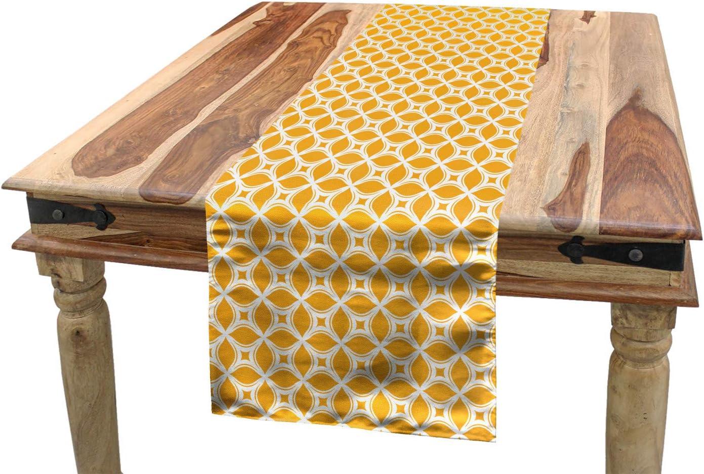 Amazon Com Ambesonne Ethnic Table Runner Ornamental Floral Tiles Mosaic Oriental Lattice Design Geometric Dining Room Kitchen Rectangular Runner 16 X 120 Orange And White Home Kitchen