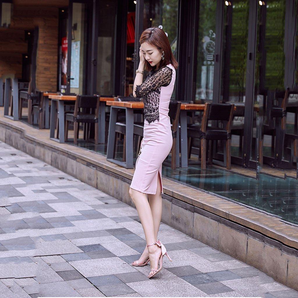 Li Ye Feng Shop Bogen Einknopf Schnalle Satin Bogen Shop Heels ausgesetzt Finger Hohl Sandalen weiblich fein, fein mit hohen Absätzen Bankett sexy High Heels Mode High Heels (Farbe : Nude color-8cm, Größe : 33) Nude Farbe-8cm e9235e