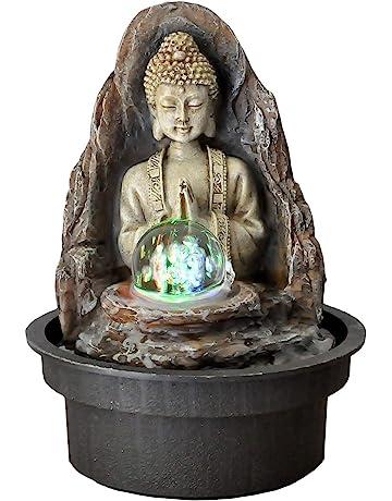 Zen Light Buda Peace Fuente, Resina, Bronce, 15 x 15 x 21