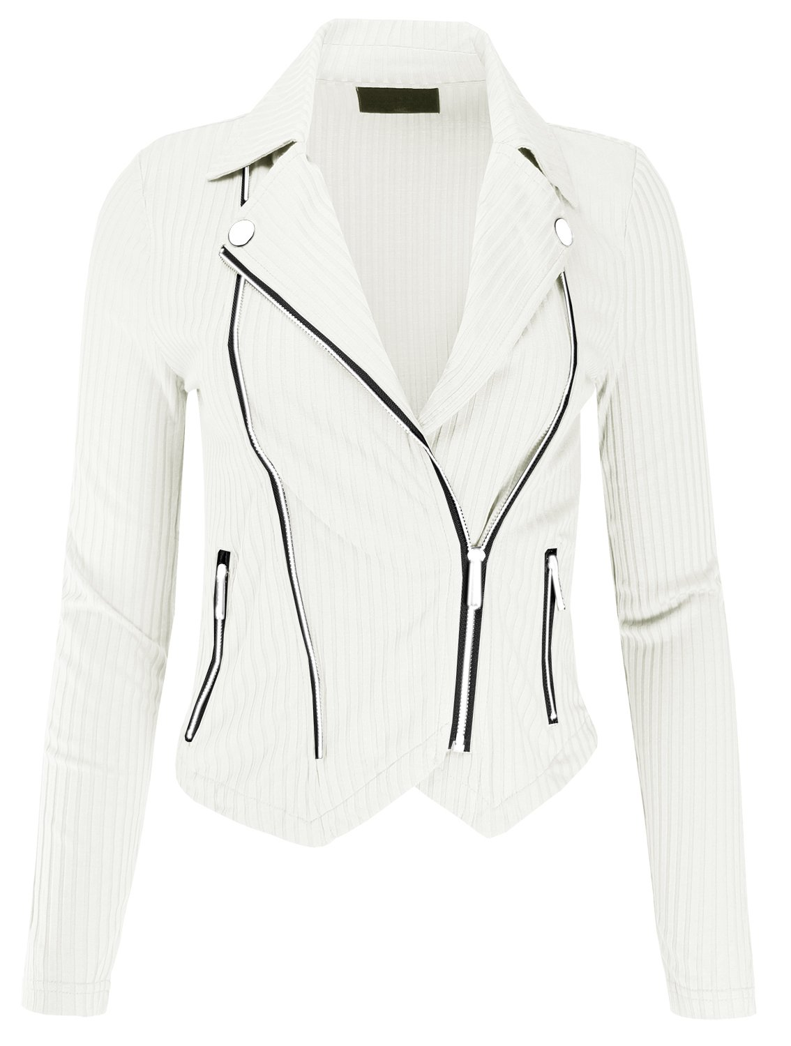Ladies' Code Mutli Zipper Detail Rib Fitted Jacket Offwhite S Size
