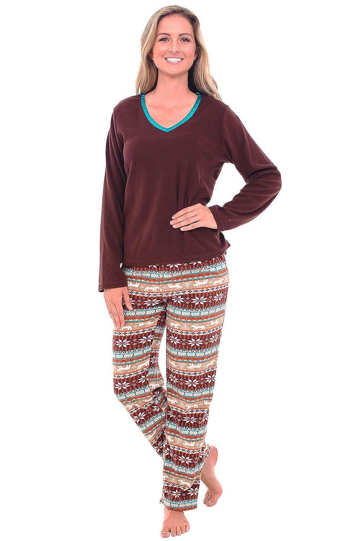 Alexander Del Rossa Womens Fleece Pajamas, Long V-Neck Pj Set A0325