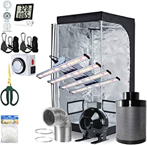 BloomGrow 1200W LED Full Spectrum Professional Grow Light Strips + 32''x32''x63'' 600D Mylar Grow Tent Room + 4'' Inline Fan Air Carbon Filter Ventilation System Indoor Plan t Grow Tent Complete Kit