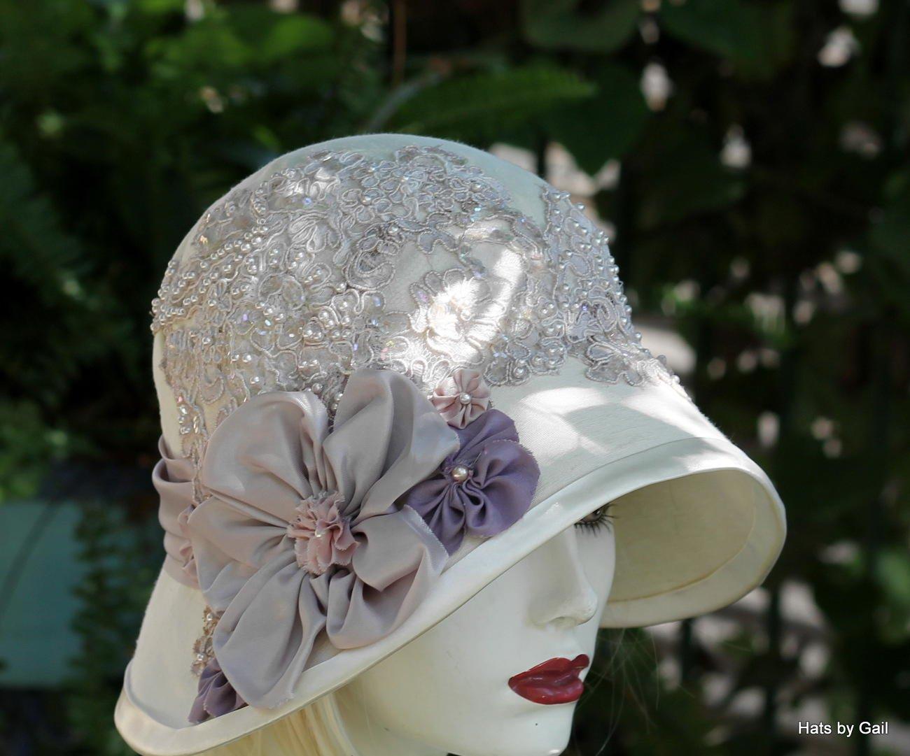 519d603129c1a Amazon.com  Womens Vintage 20s Style Fancy Formal Wide Brim Cloche Hat for Summer  Weddings  Handmade