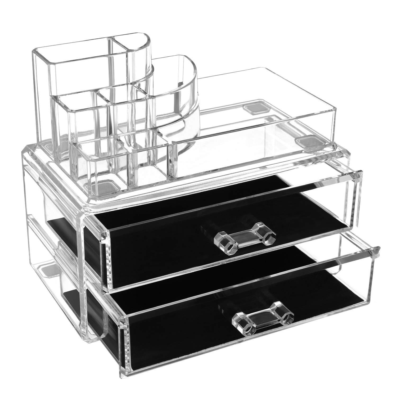 Pequeña caja maquillaje de alta calidad con 2 cajones y 9 compartimentos.