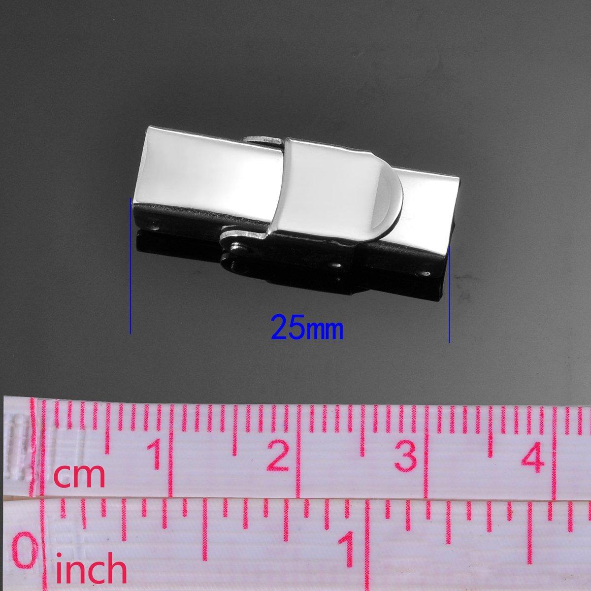 Lot de 5 fermoirs en acier inoxydable Argent/é 25 mm x 8 mm 25mmx13.5mm Dull Silver Tone