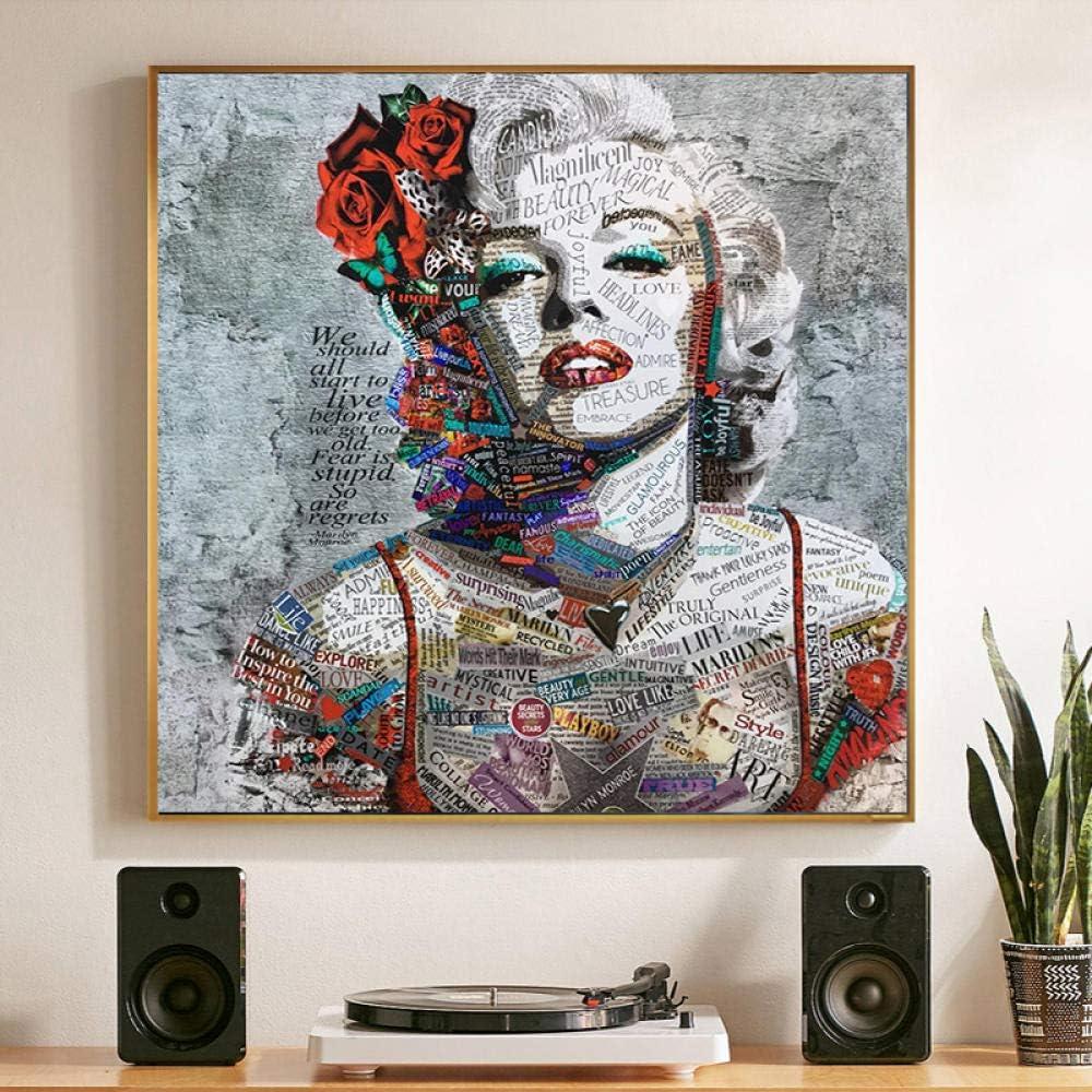 MhY Street Art Painting Marilyn Monroe Canvas Art Prints Carteles para Sala de Estar Cuadros Decorativos Modernos 40cm x40cm Sin Marco