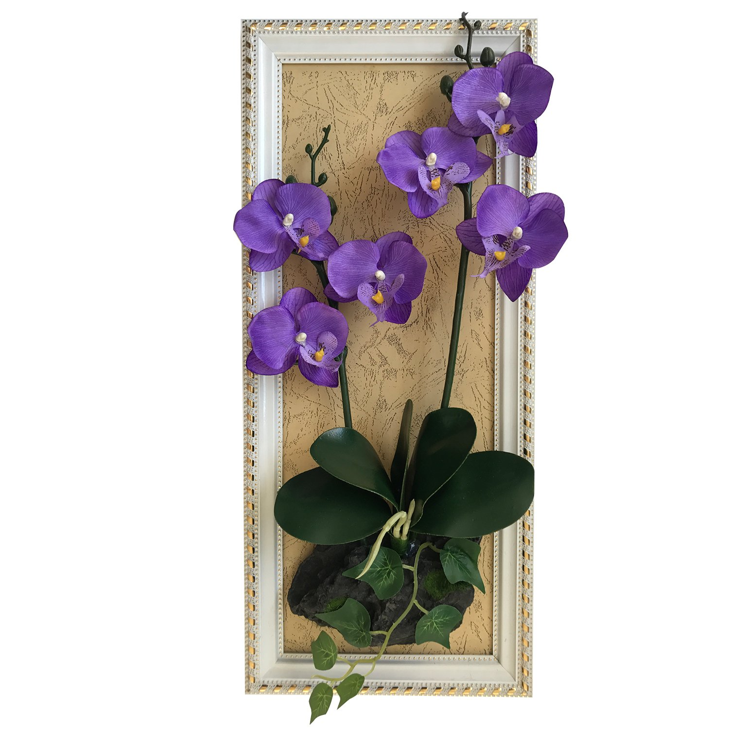 NBSY 19x8.4in Wall Hanging Artificial Flowers with Wood Frame,Art Wall Decor for Office and Home (Phalaenopsis-1)