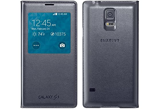 on sale 972fd 56a9f Official Samsung Galaxy S5 S-View Flip Cover Case - Black