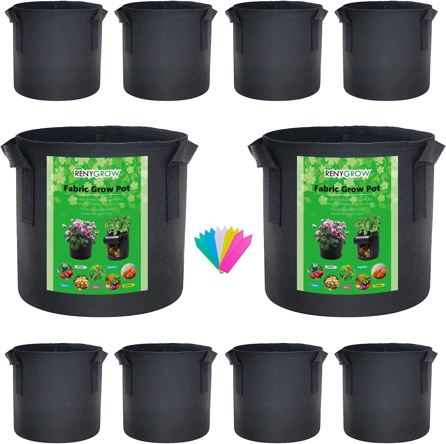 Renygrow 5 Gallon 10 Pack Fabric Planters Grow Bags Fabric Pots Garden Containers for Vegetables Strawberry Potato Grow