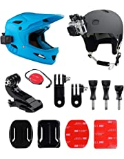 micros2u Gopro Helmet Mount Front + Side Kit, Includes J-Hook Buckle, Quick Release Clip, 3M Adhesive Pads. Compatible with Gopro Hero 6, 5, 4, 3, 2, Session Action Sports Camera