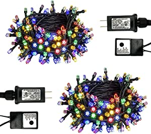 PABIPABI Christmas Outdoor String Lights 2 Pack 82ft 200 LED 9 Modes UL Safe Certified Weatherproof for Christmas Trees, Halloween, Garden, Patio, Wedding, Parties Decor(Multicolor)