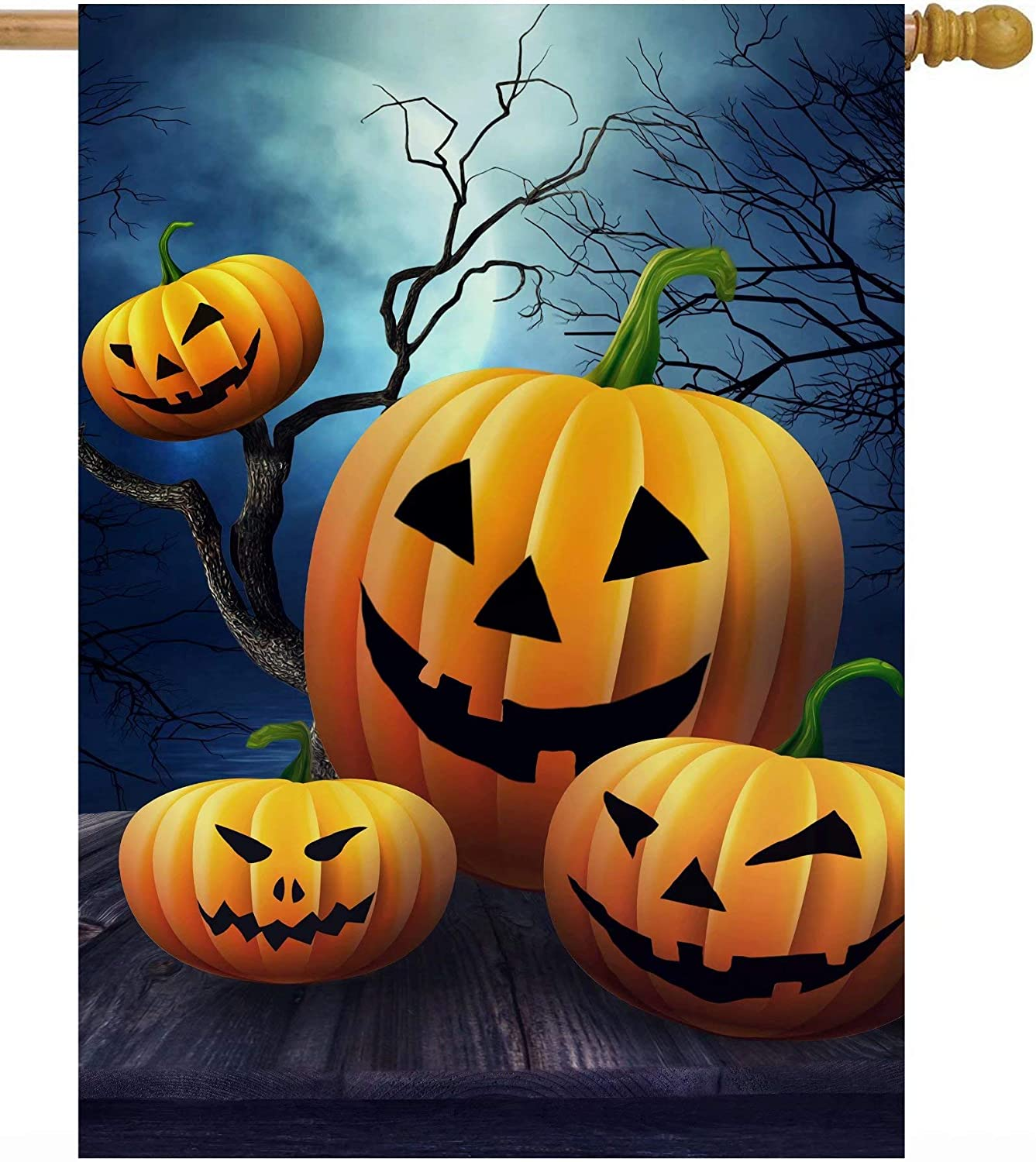 Amazon Com Pickako Halloween Pumpkins On Table Scary Gothic Trees In Night Forest House Flag 28 X 40 Inch Double Sided Large Garden Yard Welcome Flags Banners For Home Lawn Patio Outdoor