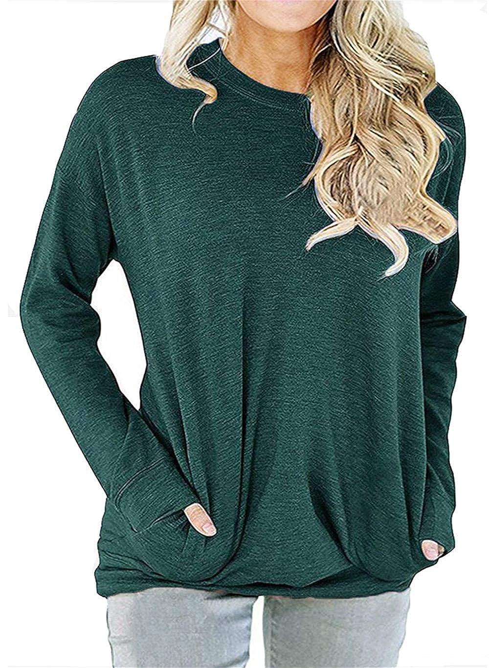 862238dc1b487e RJXDLT Women's Casual Long Sleeve Shirt Loose Soft Pockets Pullover Blouse  Tops Tunics at Amazon Women's Clothing store: