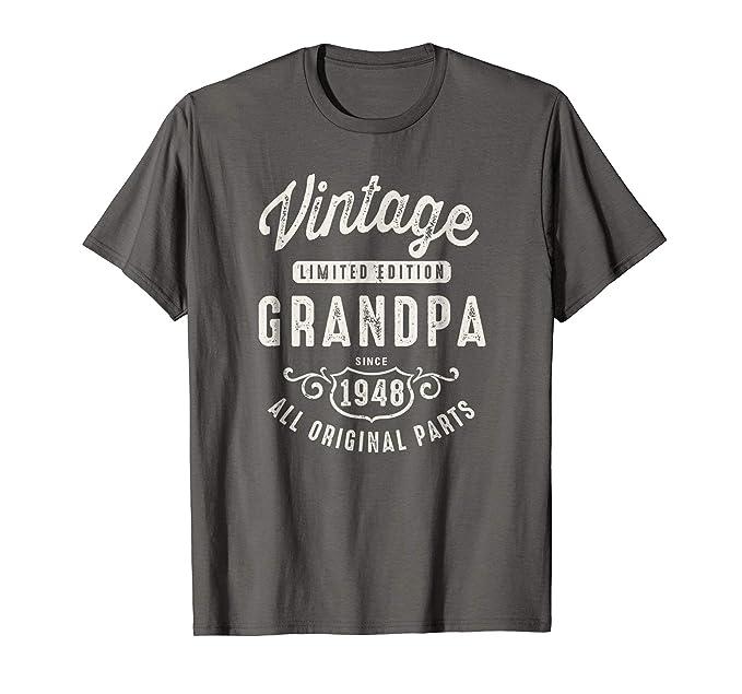 Mens Vintage Grandpa 1948 T Shirt 70th Birthday Gift 2XL Asphalt