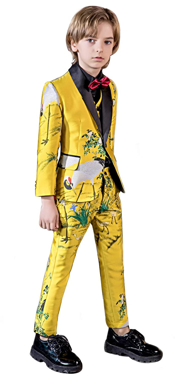 Fersumm Boys Pattern Tuxedos 5 Pieces Embroidered Slim Fit Jacquard Dress Suit