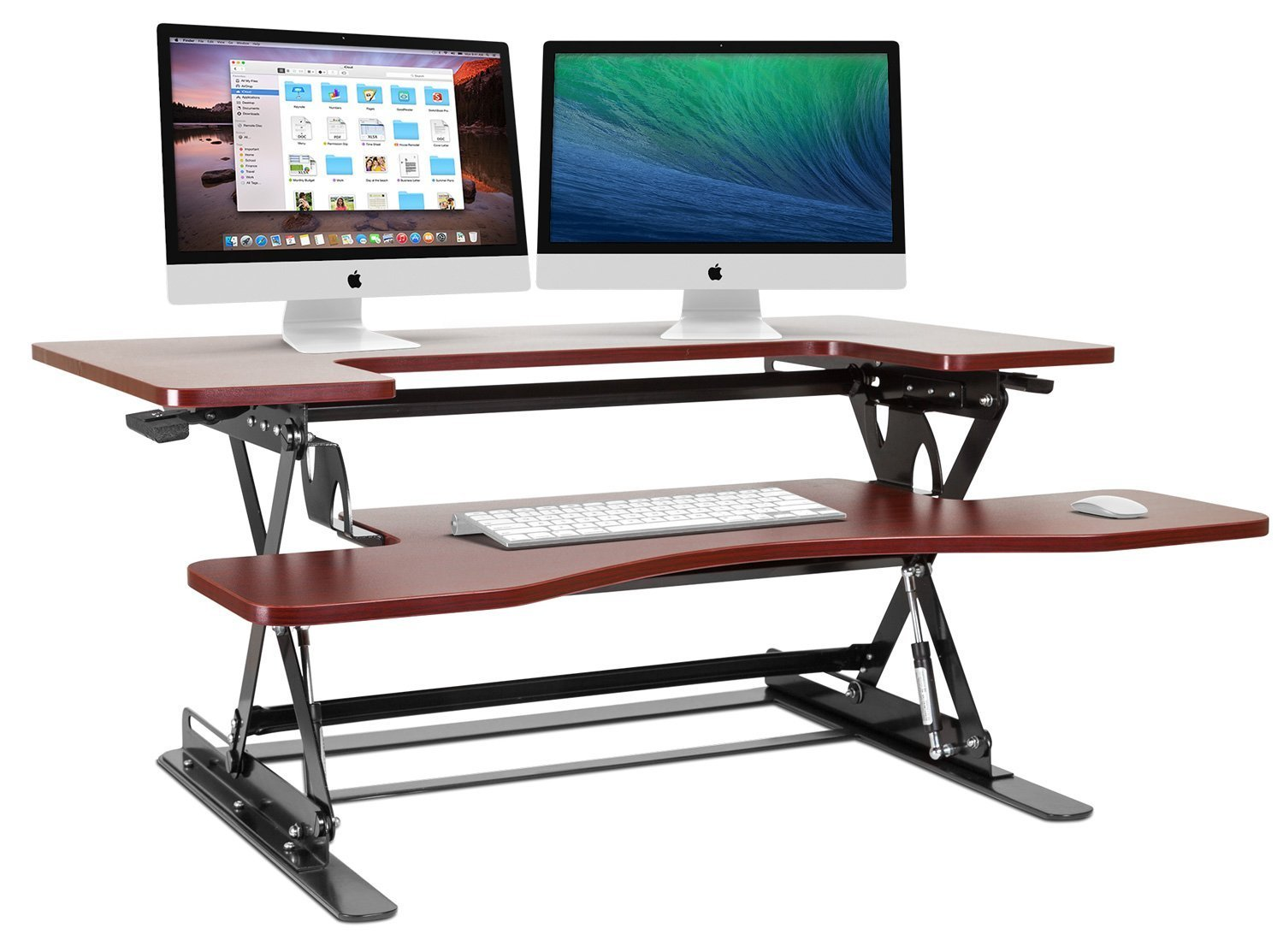 Halter Cherry Height Adjustable 36 Inch Stand Up Desk Preassembled Sit/Stand Desk Elevating Desktop ED-285