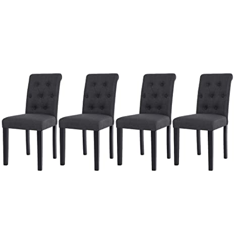 NOBPEINT Fabric Dining Chairs with Solid Wood Legs Set of 4, Charcoal